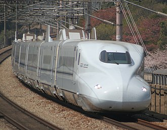 Mizuho (train) - JR West N700-7000 series shinkansen set undergoing test running, April 2009