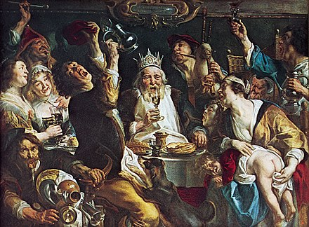 Jacob Jordaens, The King Drinks. Jordeans was well known for his large paintings of moralistic genre scenes, such as this depiction of an Epiphany feast. Jakob Jordaens 001.jpg