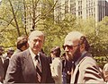 Jerry Goodman, Executive Director of National Conference on Soviet Jewry with NYC Mayor Ed Koch in front of New York City Hall (8452145598).jpg