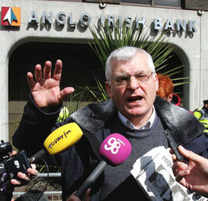 Post-2008 Irish banking crisis - Joe Higgins, MEP speaking outside Anglo Irish Bank during a protest against the bank bailout in 2010