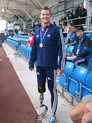 Paralympic World Cup - British sprinter John McFall, after taking the gold in the men's 200 metres T42 (single amputation above the knee) at the 2007 World Cup.