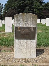 A white gravestone with a bronze plaque attached to it. Other gravestones are visible behind it