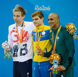 Swimming at the 2016 Summer Paralympics – Men's 100 metre backstroke S7 - Image: Jonathan Fox, Ievgenii Bogodaiko, Italo Pereira Rio 2016cr