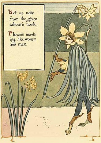 Conceit - The flowers are beginning their masquerade as people. Sir Jonquil begins the fun. (Walter Crane, 1899)