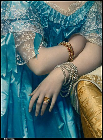The Princesse de Broglie - Detail with lace dress trimmings, jewelry, rings, tucked hand, elongated fingers, and yellow gold chair