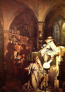 """O Alquimista na Busca pela Pedra Filosofal (1771)"" por Joseph Wright, representando Henning Brand na descoberta do elemento fósforo."