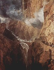 Painting by J. M. W. Turner shows the Devil's Bridge in 1803–1804.