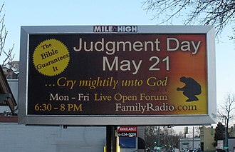 Harold Camping - A Family Radio sign in Denver predicting the end of the world on May 21, 2011.