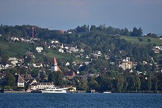 Küsnachter Tobel - Küsnachter Tobel and Küsnacht as seen from Zürichsee-Schifffahrtsgesellschaft (ZSG) ship MS Helvetia