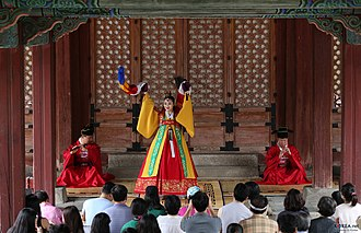Common nightingale - Dance of Spring Nightingale depicting movement of a nightingale, a solo Korean court dance.