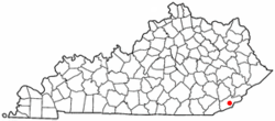 Location of Evarts, Kentucky