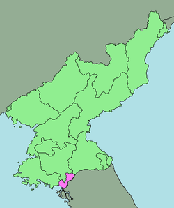 Map of North Korea highlighting the region