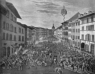 Daig (Switzerland) - City troops fighting 'Baselbieter' troops in the streets of Liestal