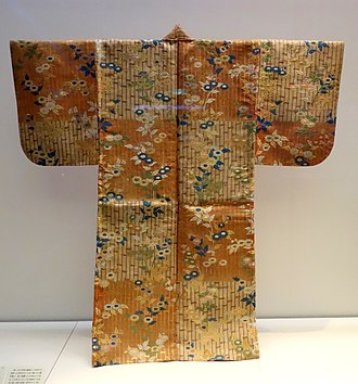 Noh - Karaori garment, Edo period, 18th century, bamboo and chrysanthemum design on red and white checkered ground