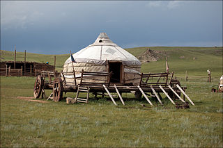 Yurt Portable, round tent covered with skins or felt