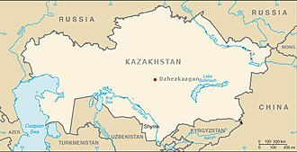 Soviet Central Asia - Location of Zhezkazgan, Kazakhstan