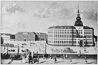 Slotsholmen - The rebuilt Copenhagen Castle about 1730 with the new Chancellery building to the left and the passageway linking the two buildings