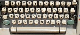 German keyboard layout - Image: Keyboard on a German mechanical Olympia typewriter