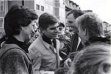 Kitty Dukakis, Governor Michael Dukakis, Mayor Raymond L. Flynn and Kathy Flynn at Evacuation - St. Patrick's Day parade (1987).jpg