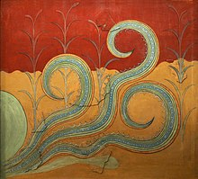Colorful fresco of tentacles emerging from the soil