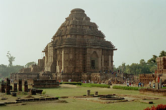 "Deula - Konark Sun Temple, example of a ""pitha deula"" (the larger tower behind has fallen down)."