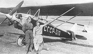 Yakovlev AIR-3 - D.A Koshits (r) and his mechanic B.N. Podlensky in front of their AIR-3