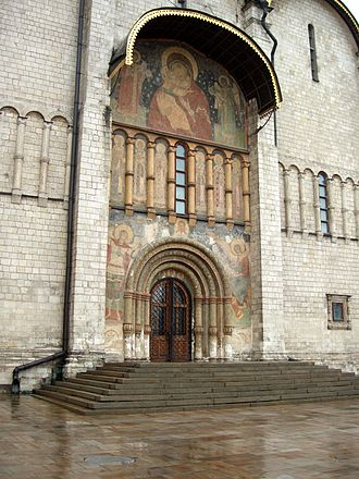 Coronation of the Russian monarch - Entry doors to Dormition Cathedral, Moscow Kremlin.