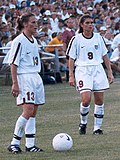 U.S. players Kristine Lilly and Mia Hamm in 1998