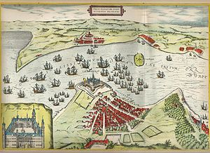 Kronborg - Kronborg Castle and the Øresund from the 1580s geography book Civitates Orbis Terrarum