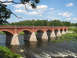 Kuldīga - Brick bridge across river Venta