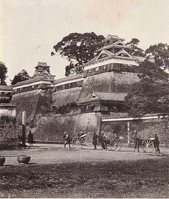 Kumamoto Castle - Image: Kumamoto Castle oldphoto 1874