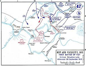 Battle of Es Sinn - Situation at Kut on 28 September 1915.