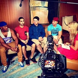 Kylie Speer interviewing Rudimental in 2013.JPG