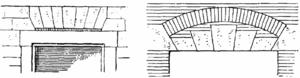 Jack arch - A jack arch, and a jack arch with a relieving arch above, as illustrated in the Lexikon der gesamten Technik.
