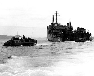 Landing Vehicle Tracked - LVTs embarking Royal Marine commandos leave Fort Marion (LSD-22) for the beach at Sorye Dong, North Korea, on 7 April 1951.