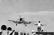 LSO signals Sea Fury on HMAS Sydney (R17) c1951.jpg