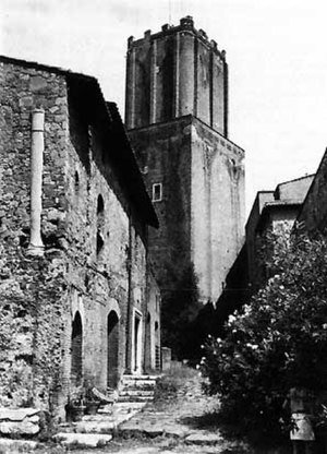 Santa Caterina a Magnanapoli - The demolished monastery of St. Catherine, on the left of the Torre delle Milizie.