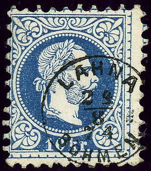 Lány (Kladno District) - Austrian KK stamp cancelled in 1874 with the German name LAHNA BÖHMEN