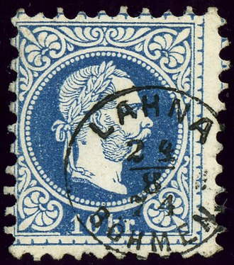 Lány (Kladno District) - Austrian KK stamp cancelled in 1874 with the German name LAHNA BÖHMEN