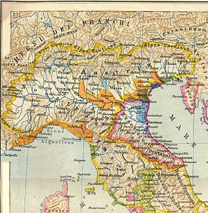 Kingdom of the Lombards - The Lombard Kingdom with its three main areas: Neustria, Austria and Tuscia