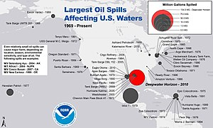 21st-century fossil fuel regulations in the United States - Map of the largest oil spills in U.S. waters since 1969