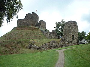 Motte-and-bailey castle - The motte and bailey defences of Launceston Castle in England.