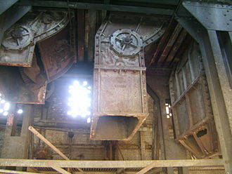 Launceston Gasworks - Three of the 8 coke extractors in the Vertical Retort Building's main hall in various levels of salvage before being scrapped in late 2012
