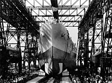Launching of the USS North Carolina (BB-55) in June 1940