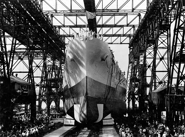 Launching of USS North Carolina (BB-55), June 1940
