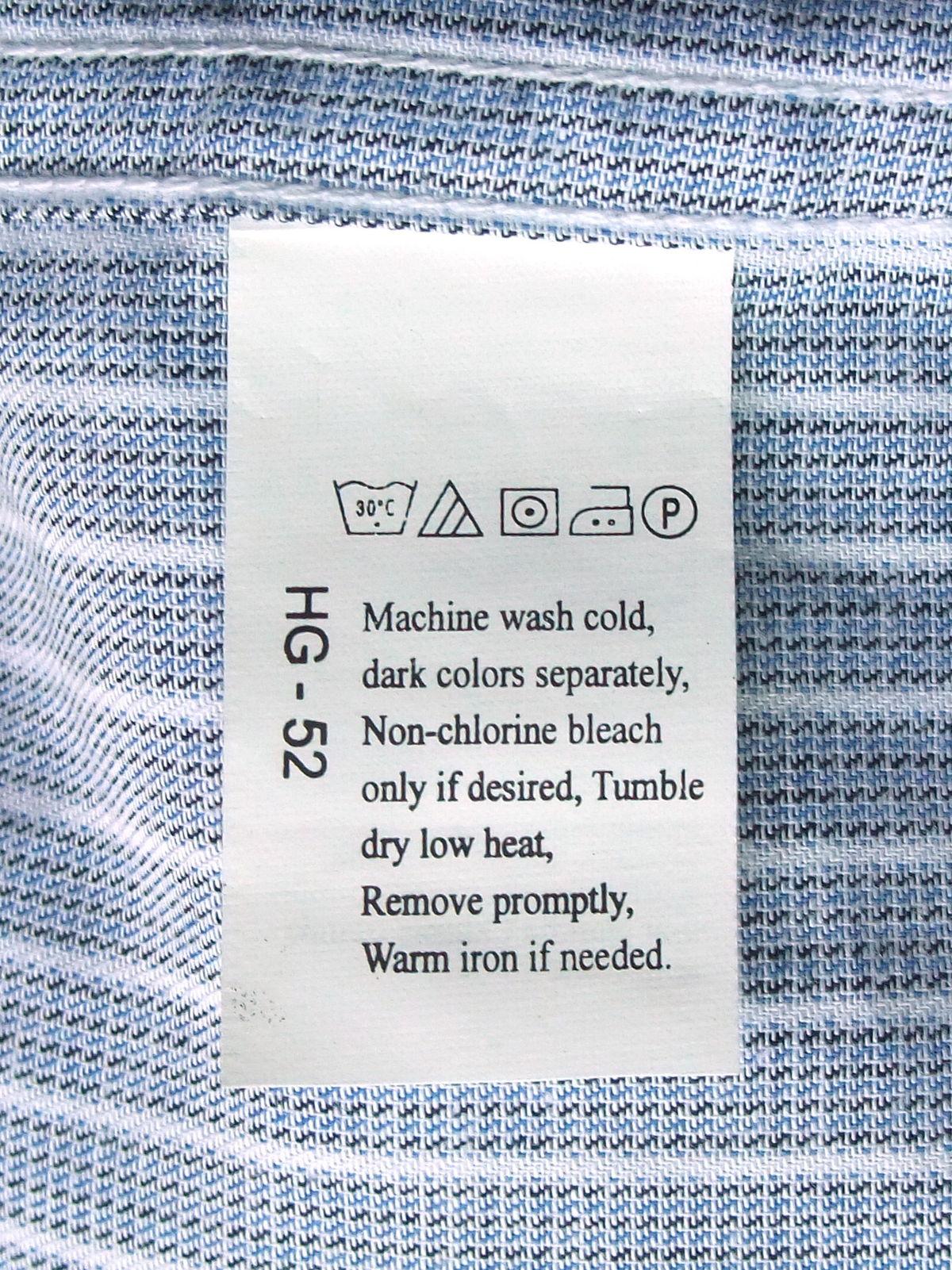 Символы по уходу за текстильными изделиями Википедия