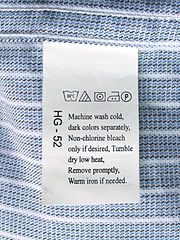 A clothing care label