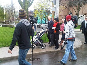 Jack Layton - Jack Layton and Olivia Chow on their way to vote, May 2, 2011