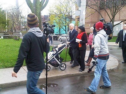Jack Layton and Olivia Chow on their way to vote, May 2, 2011 Layton and Chow on their way to vote.jpg