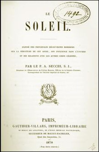 Angelo Secchi - Le Soleil: Exposé des Principales Découvertes Modernes (The Sun: Presentation of the Major Modern Discoveries). Cover